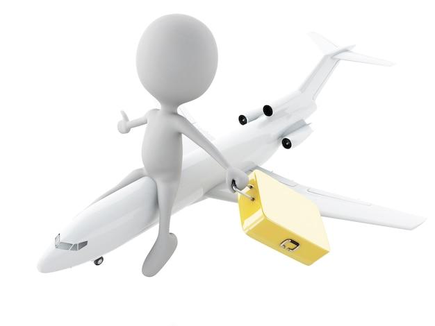 Turista dos povos 3d brancos com malas de viagem. conceito de viagem Foto Premium
