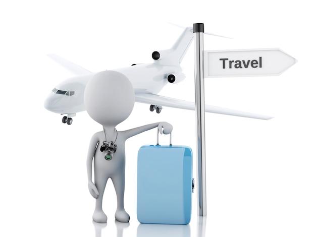 Turista dos povos 3d brancos com malas de viagem e a câmera. conceito de viagem Foto Premium