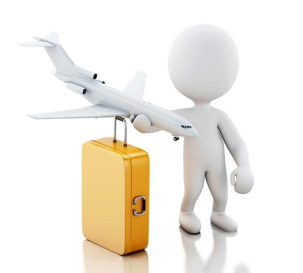 Turista dos povos 3d brancos com malas de viagem e um avião. conceito de viagem Foto Premium