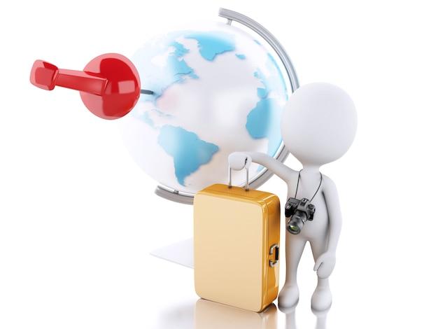 Turista dos povos 3d brancos e globo do mundo. conceito de viagem Foto Premium