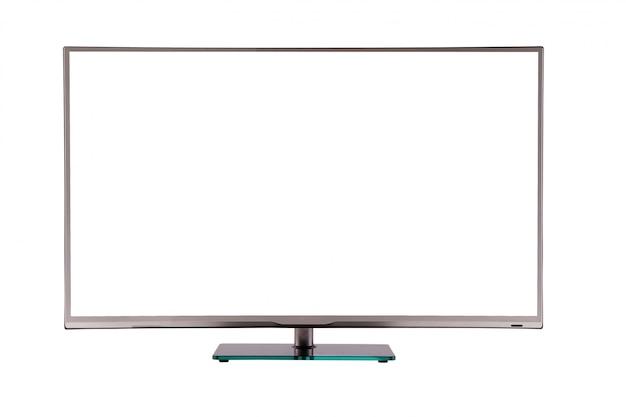 Tv lcd de plasma fino moderno em um suporte de vidro preto prateado isolado Foto Premium