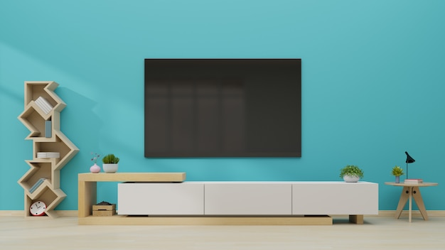 Tv na parede azul moderna sala vazia. Foto Premium