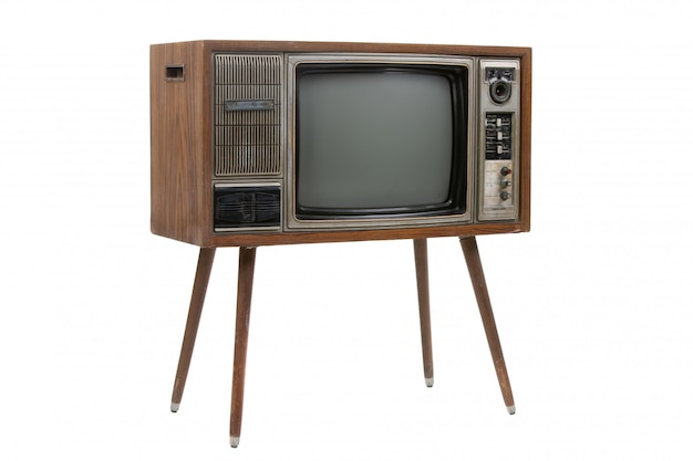 Tv vintage isolado no branco Foto Premium
