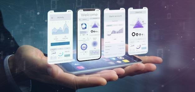 Ui interface de aplicativo em um smartphone - renderização em 3d Foto Premium