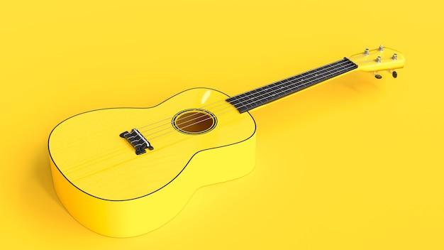 Ukulele amarelo de perto, renderização em 3d Foto Premium