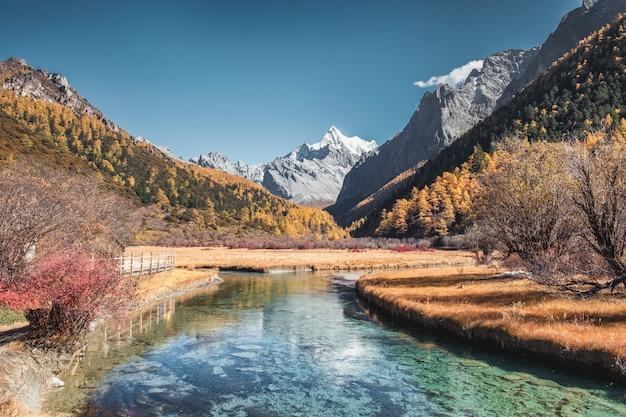 Última shangri-la da montanha chana dorje com floresta de pinheiros no outono em yading Foto Premium