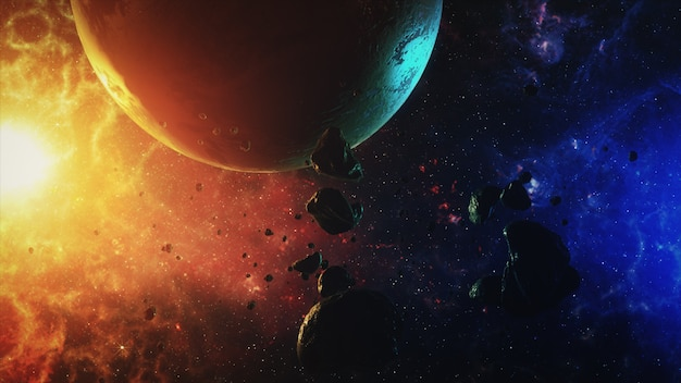 Um belo espaço colorido com asteróides com sons e um planeta Foto Premium
