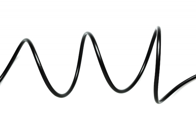 Um cabo de fio preto isolado em um fundo branco Foto Premium