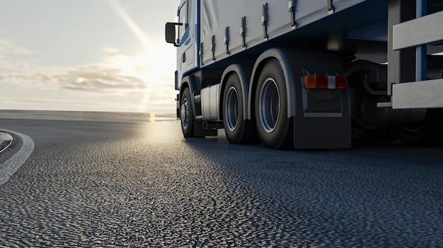 Um caminhão está dirigindo pela estrada. imagem 3d, renderização em 3d. Foto Premium
