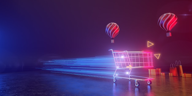 Um carrinho de compras se move à velocidade da luz em um pano de fundo com balões e caixas de presente. todos vivem em uma atmosfera futurista. 3d render. Foto Premium