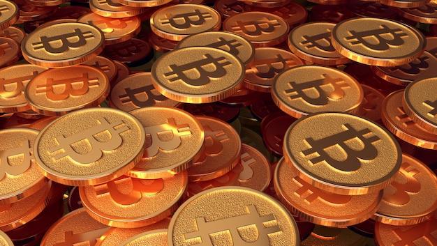 Um conjunto de moedas com a imagem do logotipo bitcoin Foto Premium