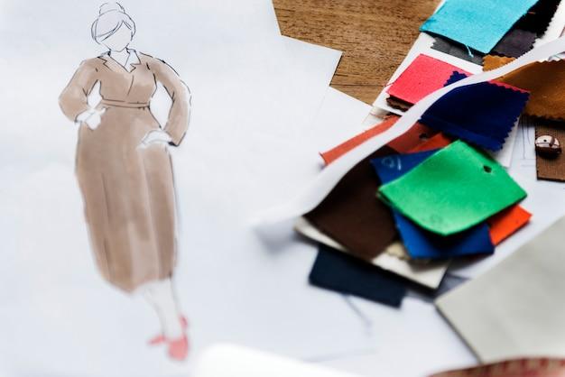 Um, esboço, de, um, mulher, vestido vestido Foto Premium