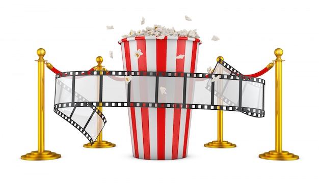 Um filme e pipoca em um fundo de pilares com uma corda vermelha. renderização 3d. Foto Premium