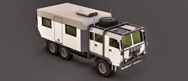 Um grande caminhão branco em um espaço cinza, preparado para expedições longas e difíceis em uma área remota. caminhão com uma casa sobre rodas. ilustrações 3d. Foto Premium