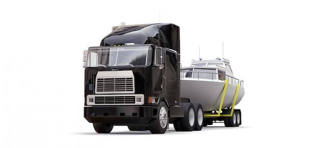 Um grande caminhão preto com um reboque para transportar um barco em um fundo branco Foto Premium