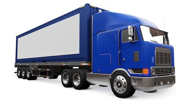 Um grande caminhão retrô com uma parte adormecida e uma extensão aerodinâmica carrega um reboque com um contêiner marítimo. ao lado do caminhão, há um cartaz em branco e branco para seu projeto. renderização em 3d. Foto Premium