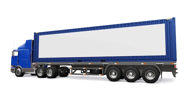 Um grande caminhão retro com uma parte de dormir e uma extensão aerodinâmica carrega um trailer com um container marítimo. na lateral do caminhão há um pôster branco em branco para seu projeto. renderização 3d. Foto Premium