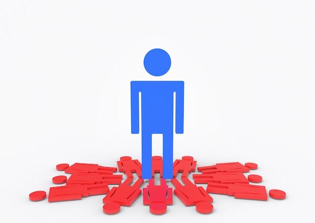Um homem azul grande que está em sinais fêmeas vermelhos do género. Foto Premium