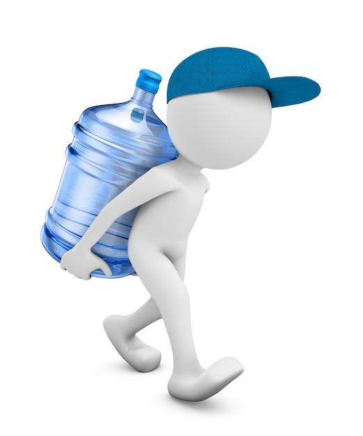 Um homem com uma garrafa de água purificada para beber Foto Premium
