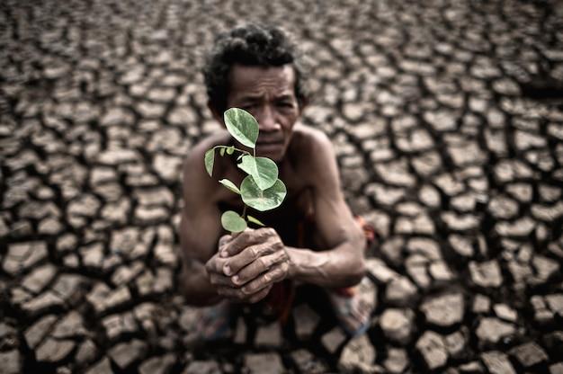 Um homem idoso sentado com solo seco e rachado em uma muda de mão, aquecimento global Foto gratuita