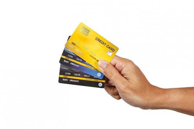 Um, homem, mostrando, três, cartões crédito, isole, branco Foto Premium
