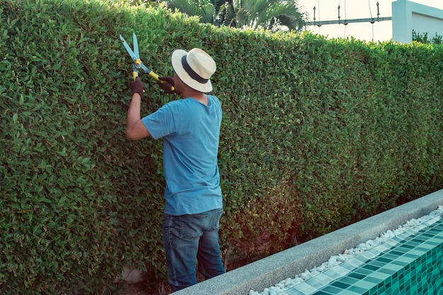 Um homem que poda ramos no jardim Foto Premium