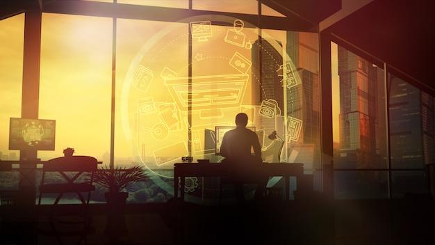 Um homem trabalha em casa no computador. Foto Premium