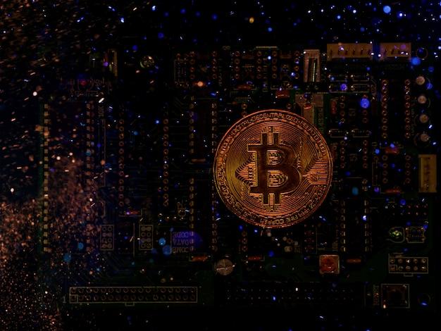 Um inovador efeito bitcion da moeda digital por um ótimo efeito de iluminação. Foto Premium
