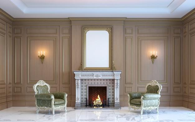 Um interior clássico com painéis de madeira e lareira. 3d rendem. Foto Premium