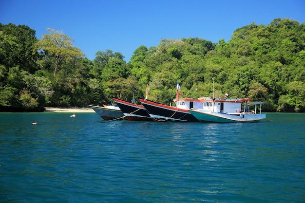 Um lindo barco e praia Foto Premium