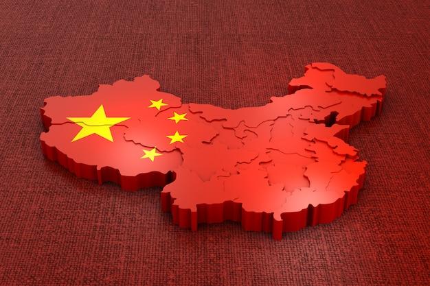 Um mapa volumétrico da china na bandeira. renderização 3d. Foto Premium