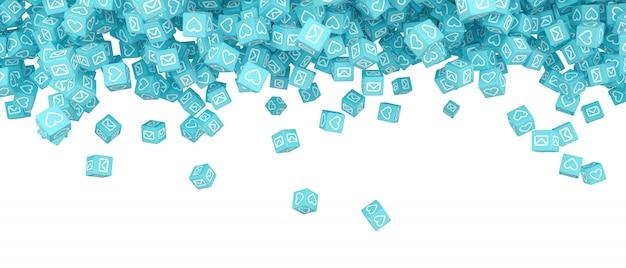 Um monte de blocos caindo com fotos de mídias sociais 3d ilustração Foto Premium