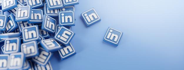 Um monte de logotipos do linkedin em azul Foto Premium