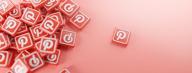 Um monte de logotipos do pinterest em vermelho Foto Premium