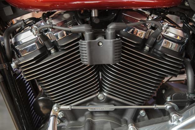 Um motor de moto close-up Foto Premium