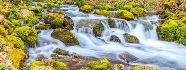 Um pequeno riacho com uma cachoeira e rochas cobertas de musgo na primavera Foto Premium