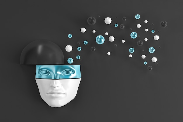Um rosto de mulher espreitando para fora da parede em uma máscara de metal brilhante com objetos voadores da cabeça. ilustração 3d Foto Premium