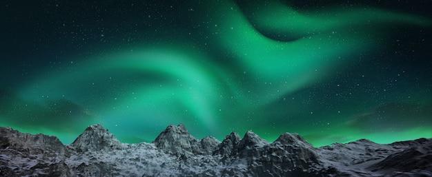 Uma bela aurora verde e vermelha dançando sobre as colinas Foto Premium