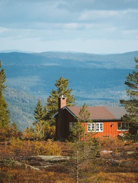 Uma cabana de madeira em uma floresta com belas montanhas rochosas ao fundo na noruega Foto gratuita