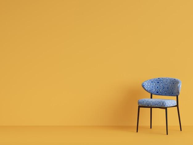 Uma cadeira azul com ornamnet. conceito de minimalismo. renderização em 3d Foto Premium