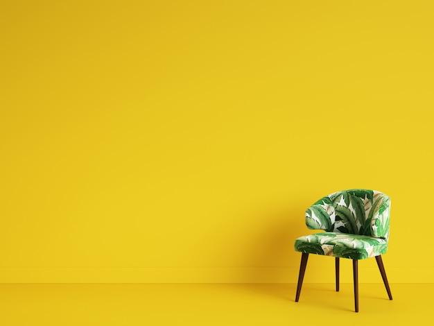Uma cadeira verde com ornamnet no backgrond amarelo. conceito de minimalismo. ilustração digital. renderização 3d simulada acima Foto Premium
