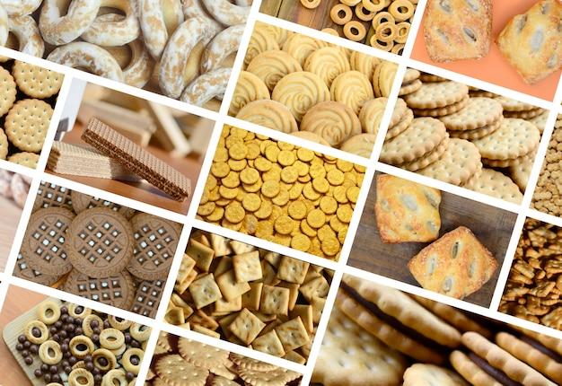 Uma colagem de muitas fotos com vários doces close-up. Foto Premium