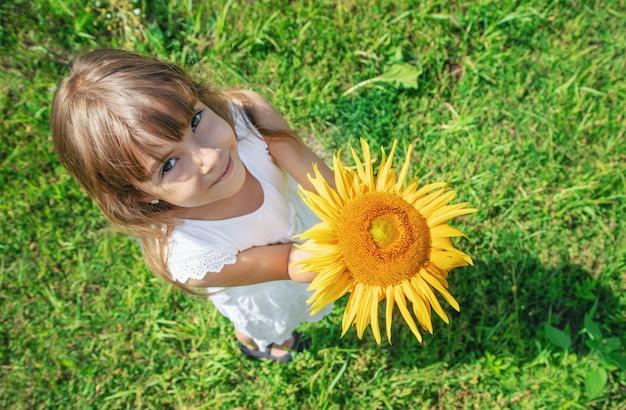 Uma criança em um campo de girassóis. Foto Premium