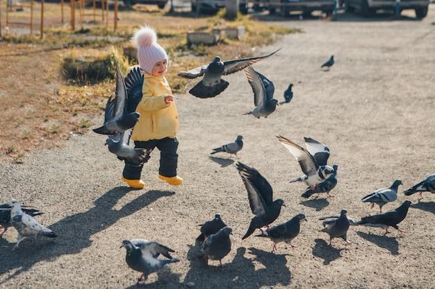 Uma criança perseguindo pombos. garota alimentando pássaros. conceito de infância, jogos de rua Foto Premium