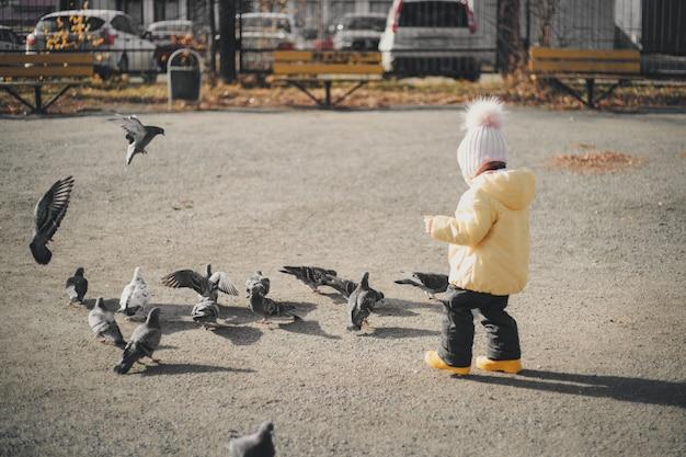 Uma criança perseguindo pombos. garota alimentando pássaros. infância, jogos de rua Foto Premium