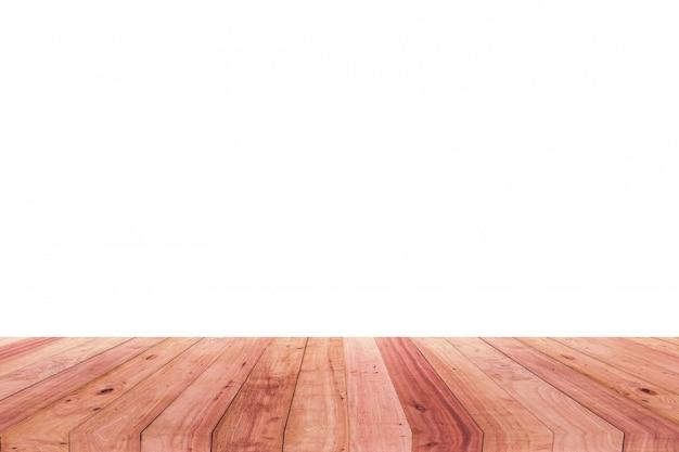Uma imagem de uma mesa de madeira na frente de um fundo abstrato do branco. Foto Premium