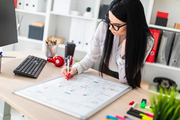 Uma jovem em copos fica perto da mesa, detém um marcador na mão e desenha em um quadro magnético. Foto Premium