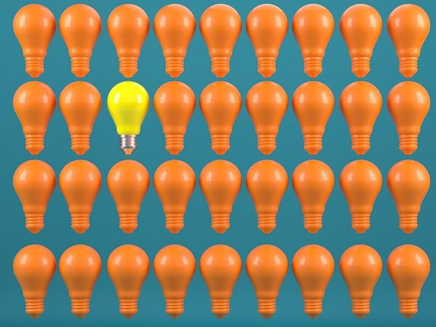 Uma lâmpada incandescente destacando-se da individualidade das lâmpadas incandescentes apagadas e dos diferentes conceitos de idéias criativas renderização em 3d Foto Premium