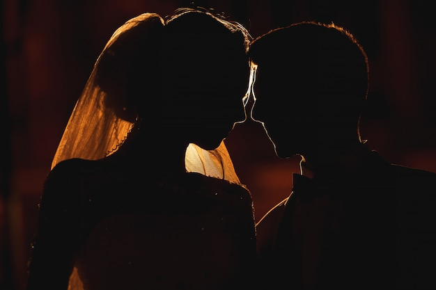 Uma linha clara de luz descreve a silhueta do jovem casal. atrás deles está a arquitetura de cracóvia. Foto Premium