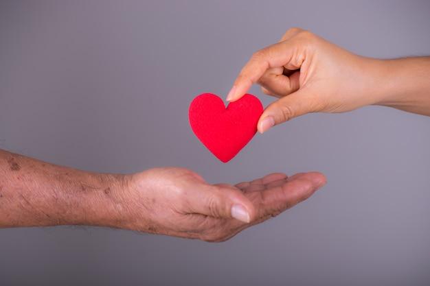 Uma mão dá um coração vermelho para uma mão ancião sênior. dia do coração do mundo. Foto Premium
